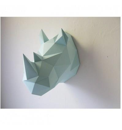 Kit de pliage papier trophée Rhinocéros mint - Assembli