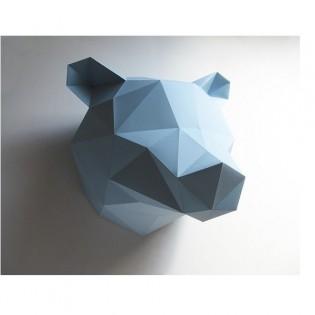 Kit de pliage papier trophée Ours bleu - Trophée assembli