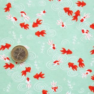 Papier japonais motif poissons rouges fond vert
