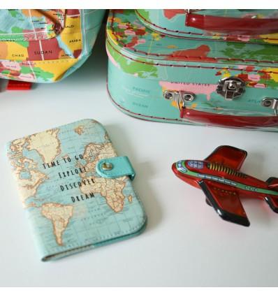 Protège passeport carte du monde