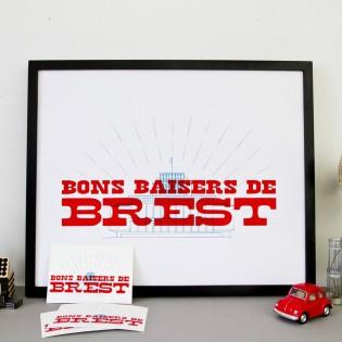 Affiche Bons baisers de Brest - Sérigraphie Le Marquis de Moon