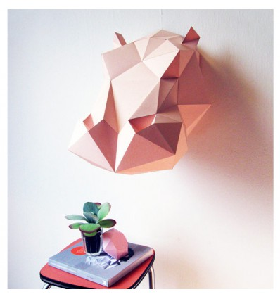Kit de pliage papier Hippo rose - Assembli